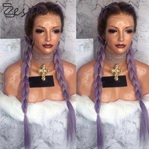 Zesen 24 بوصة رئيس يشبع الاصطناعية الجبهة الرباط الباروكات للنساء 3 لون مستقيم الجديل مزدوجة ذيل حصان الشعر المستعار مقاومة للحرارة