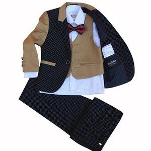 The Little Boy New Children Suit set Flower Boys Dress 4 pieces jacket+vest+pants+bow tie size 2-12 Years no shirts S200113