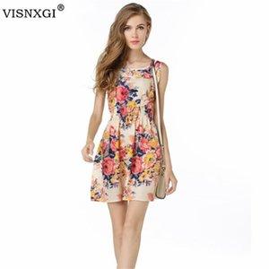 VISNXGI Летние платья для женщин вскользь Bohemian Цветочные рукавов жилет большой цветок Printed пляжа шифоновое для женщин 2020