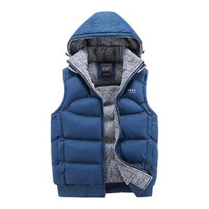 Fashion Sleeveless Jacket 2020 Men Thickening 100% Cotton Vest Hat Hooded Warm Vest Winter Waistcoat Men Casual Windbreaker CX200804