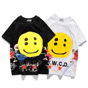 남성 T 셔츠 힙합 패션 웃는 얼굴 인쇄 남성 T 셔츠 짧은 소매 높은 품질 남성 여성 T 셔츠 크기 M-XXL