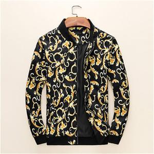 3D floreale dell'oro Stilista di moda Slim Stylist Zipper Medusa uomini di lusso Stampa Mens Giacca lunga cappotto casuale Domber giacca giacca di jeans