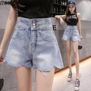 ITOOLIN 2020 A vita alta moda irregolari bicchierini del denim dei jeans delle donne Summer Slim Jeans a gamba larga Femme Skinny Denim Shorts
