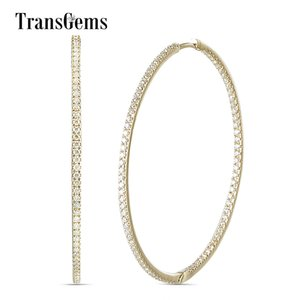 Transgems Big Size Round Brilliant 14K Yellow Gold Hoop Earrings 44MM Diameter 1.5MM Width with 1.2MM Moissanite VVS for Women Y200620