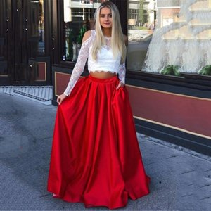 2020 Two Pieces Prom Dresses Long Sleeveless Scoop A Line Lace Evening Dress Robe De Soiree Party Dresses Evening Gowns