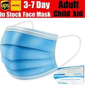 Mascarilla desechable 3 capas máscaras anti-polvo Earloop boca cara Máscaras con máscara de adulto joven caja de envío con KID en 12-24 horas