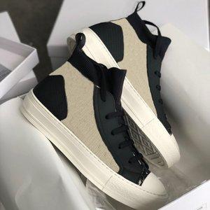 Moda Mujeres Alto-top de los zapatos de lona B23 Técnica Walking zapatilla de deporte azul oblicua técnico de malla con cordones de las zapatillas de deporte de la plataforma de alta calidad de los zapatos