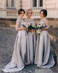 Half Sleeve Long Bridesmaid Dresses 2021 3D Floral Lace Garden Country Maid of Honor Junior Wedding Guest Bridesmaid Dress Cheap