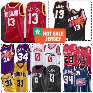 James 13 Harden Jersey Russell 0 Westbrook Michael 23 MJ Roket Hakeem 34 Olajuwon Steve Nash 13 Charles 34 Barkley Reggie 31 Miller