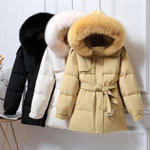 SEDUTMO Tunique d'hiver Canard doudounes femmes long manteau oversize avec ceinture automne fourrure à capuchon épais veste chaude Casual ED1134