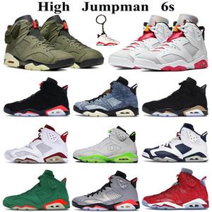 Zapatos por mayor de alta 6s Jumpman baloncesto Hare DMP 2020 Entrenadores deportivos negros infrarrojos lavados de mezclilla Travis Scotts al aire libre zapatos deportivos