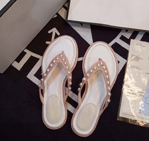 fashion women's sandals Designer Shoes Bohemian Diamond Slippers Woman Flats Flip Flops Shoes Summer Beach Sandals shoe09 CH02