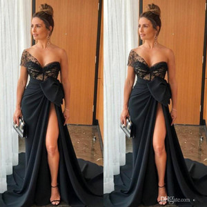 Sexy New Arrival Black Mermaid Prom Dresses One Shoulder Illusion Bow Satin High Side Split Sweep Train Formal Dress Evening Gowns ogstuff