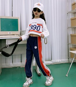 Old Kids sport outfits 2020 Fall big girls letter printed long sleeve short T-shirt+stripe casual pants 2pcs children leisure sets A3520