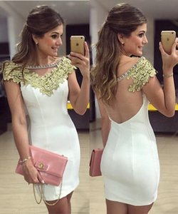 White Sheath Short Homecoming Dresses Short Sleeves Sheer Scoop Neck Prom Dress Illusion Back Cocktail Party Dresses For Sale C04