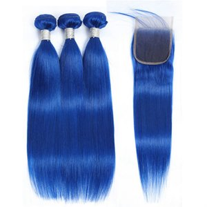Color Blue Malaysian Virgin Straight Hair Weave 3 Bundle With Closure Pre Plucked Hairline 4x4 Human Hair Lace Top Closures And Extensions