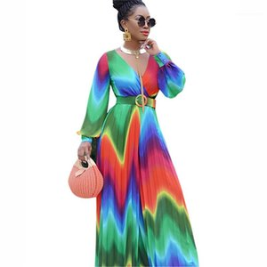 Rompers Sashes Full Length Apparel Women Summer Jumpsuits Sexy Chiffon Jumpsuits Colorful V Neck Wide Loose