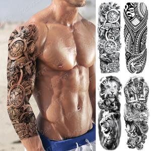 Grand bras manches Tatouage Horloge Rose Croix du Dragon Waterproof Poker temporaire Tatto Sticker corps Lion Art Faux Plein Tatoo Femmes Hommes T200730