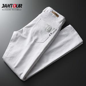 Jantour Marke Frühling Sommer Weiße Jeans Herren-Streetwear-Twill Hose Männer jean pontallon homme dünne Bleistift-Hosen männlich