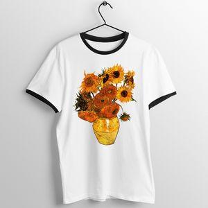 T-shirt unisexe bordure noire Vase avec des marguerites par Vincent Van Gogh Nuit étoilée Impressionnant T-shirt imprimé