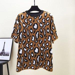 Milinsus femmes Leopard Pull en maille à manches courtes en vrac Motif Milk Casual Cardigans et pull-overs Hauts Pull Pull Femme