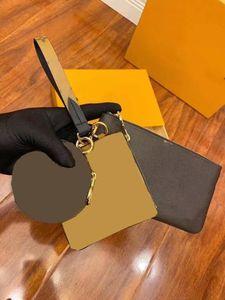 moneta sacchetto 3pcs sacchetto chiave / set Genuine Leather nuova qualità di modo delle donne titolare della carta di lettera portafoglio fiore superiore con la scatola sacco aspiratore