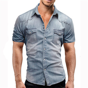Mens Designer Solid Color Denim Shirt with Buttons Fashion Short Sleeved Mens Summer Tops Man Turn Down Collar Tees