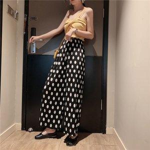 20201719 Polka Dot wide leg pants high waist drop feeling straight tube casual pants