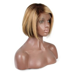 Highlights Color Full Lace Human Hair Wigs Short Bob Wig Brazilian Remy Hair 13X6 Deep Part Lace Front Wig 8inch 150% Density