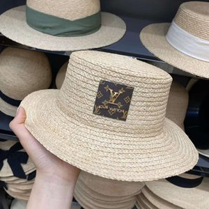 Women Letter Print Straw Hats Fashion Lady Letter Embroidered Lafite Sunhat Breathable Summer Wide Brim Beach Sun Hats AX050