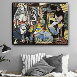 Femmes d'Alger par Pablo Picasso à l'huile abstraite Peinture sur toile reproductions d'art Affiches Accrochage Salon Décoration