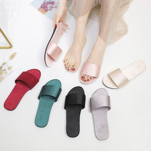 2020 New Home Women's Design Slippers Satin Simulation Silk Word Drag Indoor Non-slip Shoes Wedding Shoes Slippers Flip Flops