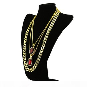D Men &#039 ;S Gold Plated Hip Hop Necklace Cz Ruby Bling Combo Set Rope Foxtail Chain 2pcs Ruby Pendant With 1pc Chain Necklace Jewelr