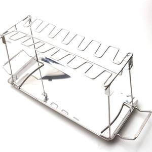 Pierna de pollo en rack para fumador parrilla o el horno tostador de acero inoxidable soporte vertical Bandeja de goteo barbacoa Accesorios JK2007XB