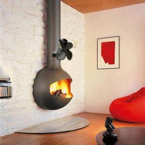 Montado en la pared de tipo 4 de la hoja estufa de calor del ventilador accionado registro de madera quemador Eco Quiet Home chimenea Heat Fan Distribución de ahorro de combustible y7SS #