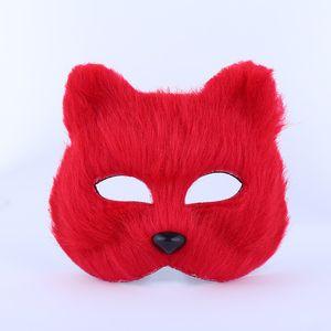 Halloween en fourrure de renard Masque femmes sexy de partie de mascarade Masque Fashion Fox Demi-masque animal Masques Fox cosplay danse en peluche Jouets DH0126