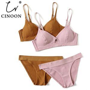 CINOON 2019 High-end Brand Romantic Temptation Bra Set Women Fashion Stripes Underwear Set Push Up Bra and Panties Set Y200708