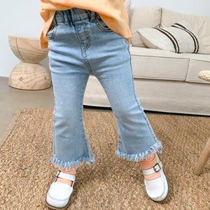pants 2020 Autumn and children's pants girl's small and medium-sized children's trumpet jeans high-elastic nine-point jeans tassel