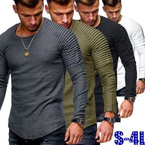 20FW beiläufige Mens-T-Shirts Normallack O-Ausschnitt Langarm geraffter Schulter Tops Mens Sports Tees Homme Kleidung