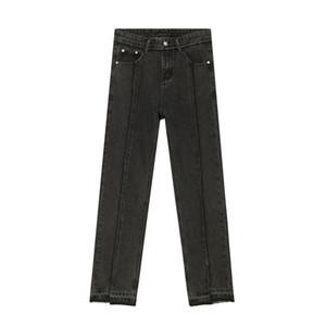 Hip para hombre de la calle principal de la vendimia Old Split Hop del ajustado de los pantalones de mezclilla Japón Corea del estilo de las bragas de los pantalones vaqueros de Casual Male