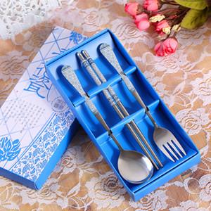 Sécurité écologique Art de la table en acier inoxydable Set mots chinois promotionnel trois pièces cadeau Chopsticks fourchette cuillère Définit vaisselle DH0037