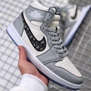Просто сделай DIOR X NIKE AIR JORDAN Конструкторы Баскетбол обувь Limited Кроссовки Мужчины Женщины Классический AJ 1 х Диор Косые Кроссовки Обувь