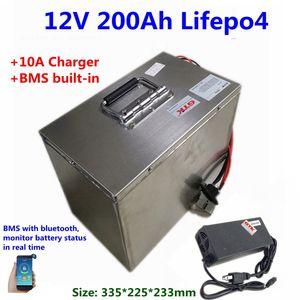 GTK 12.8V 12V 200Ah LiFePO4 lítio bateria de iões de RV Caravan carros eléctricos de armazenamento de energia do painel solar + 10A carregador