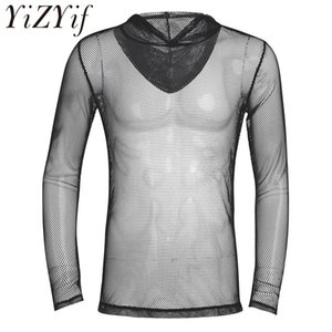 2020 New Fashion Men Long Sleeves Fishnet See-through Hooded T-Shirt Tops Wet Look Stretchy Mesh Party Clubwear T-Shirt Tops