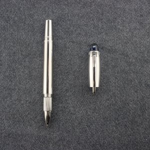 Silver Grey Rollerball Pen Blue Crystal Cap Men Handmade Vintage Stationery Products School Office Supplies Metal Roller Pens Gift 140mm