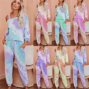 Womens Gradient 2pcs Loose Tracksuits Summer Designer Crew Neck Drawstring Dye Home Suits Clothing Females Comfortable Sets A032 D02