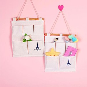 Cotton and linen iron tower hanging 5 s Cotton linen bag wall-mounted storage bag fabric sundries storage