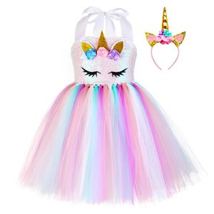 Pastel Sequins Girls Unicorn Tutu Dress Set Princess Flowers Girl Birthday Party Dress Up Kids Halloween Unicorn Costume Outfit T200709