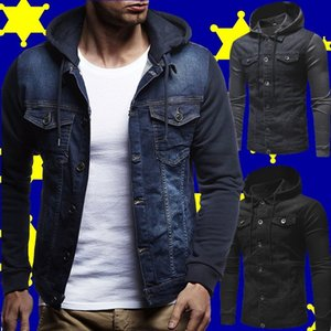 moda casual de punto de mezclilla de la chaqueta con capucha, chaqueta, tops de los hombres de