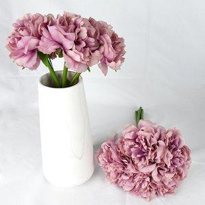 5pcs bundle Bloom Hydrangea Artificial Flowers for Wedding Decoration Bride Bouquet Valentines Home Garden Decor Peony Flower